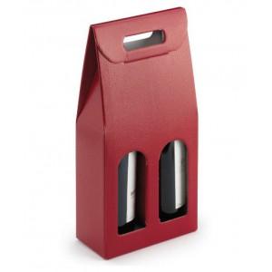 Draagtas Hagedis 2 flessen rood met venster