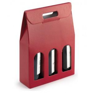 Draagtas Hagedis 3 flessen rood met venster